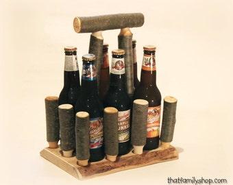 Log Beer Caddy Tote Unique Serving Gift Idea, Wooden Craft Brew Holder for Groomsman, Party Favor, Rustic Anniversary Present