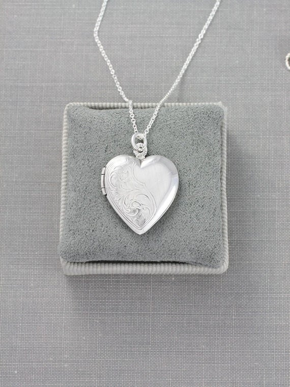 Heart Sterling Silver Locket Necklace, Vintage Engraved Pendant Heirloom Jewelry - A Subtle Swirl