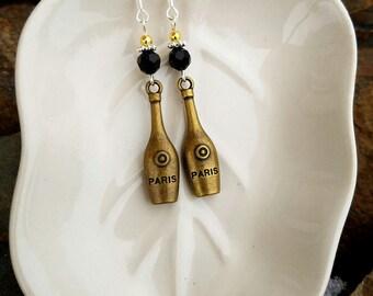 Gold Paris Wine Bottle Earrings, Gold Wine Bottle Sterling Silver Earrings, Wine Bottle Earrings, Black Wine Bottle Sterling Earrings