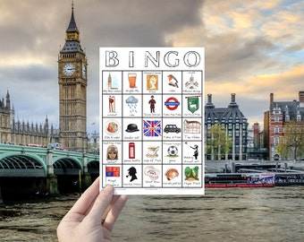 London Travel Bingo - Instant Download, Travel Printable Game, Travel Gift, City Explorer, Digital Download Card