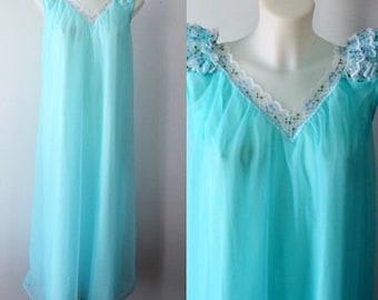 Vintage Nightgown, Vintage Aqua Nightgown, Aqua Chiffon Nightgown, Gay Lure, 1960s Chiffon Nightgown, 1960s Nightgown, 1960s Lingerie