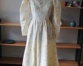 50% OFF Gunne Sax Renaissance Bridal collection Primrose Yellow Victorian taffeta wedding Dress 70s Prom Dress Maxi Prairie Dress size 7