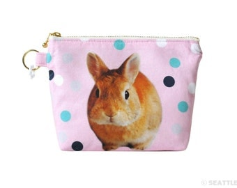 Orange Apollo's Flat Bottom Zipper Pouch for Bunny Lovers (Netherland Dwarf, Lavender Pink)