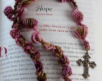 Ecumenical Episcopal Protestant Anglican Fiber Art Prayer Beads, Natural Merino Wool Nylon Blend, Bronze Filigree Cross, Pinks, Mauve, Green