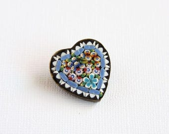 Vintage Italian Millefiori Brooch Heart Chape Made In Italy Pink Flowers Leaves Blue White Border Simple Brass Setting Early Mid Century