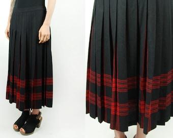 Pendleton Skirt    Authentic Menzies Tartan    Black & Red Plaid    Midi Skirt