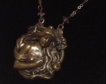 Pididdly Links Art Nouveau Style Pendant Necklace – 1980s Victorian Revival