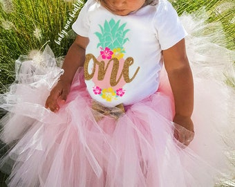 Pineapple First Birthday Outfit Girl; One Birthday Tutu Outfit; Gerber ® Onesies ® brand; Baby Girl First Birthday Outfit; Hibiscus Luau