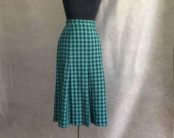 Vintage 50's Green Wool Skirt, Green Plaid Vintage Skirt, Pleated Knee Length Skirt, Size Small, Waist 27, SALE