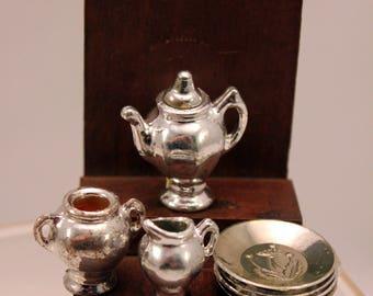 Miniature Tea Service Set Dollhouse Dishes Silver Plastic w Dessert Plates