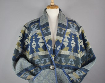 Women's Navajo Tribal Design Tapestry Jacket, Vintage 90s, Blue Jacket, Spring Jacket, Southwest, Women's Extra Large, Plus Size