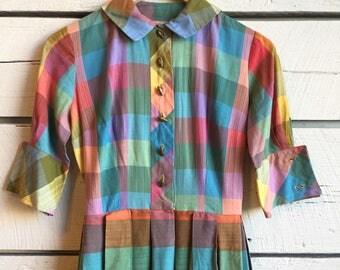 Vintage 1950s rainbow plaid dress • checkered shirtdress • 50s cotton dress
