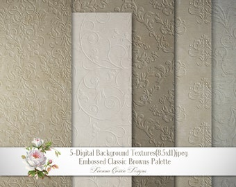 damask backgrounds, embossed papers,  8.5x11 Vintage Paper, shabby chic paper, scrapbooking, damask brown grey paper, cu ok, download