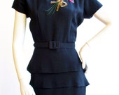"1940s Black Crepe Dress With Sequin Flowers 26"" Waist"