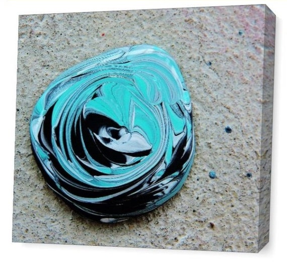 LE Deep Canvas Wrap Giclee Fine Art Print of Close Up Photograph Photo Aqua Silver Wet Paint Turquoise Black Amber Lamoreaux Contemporary