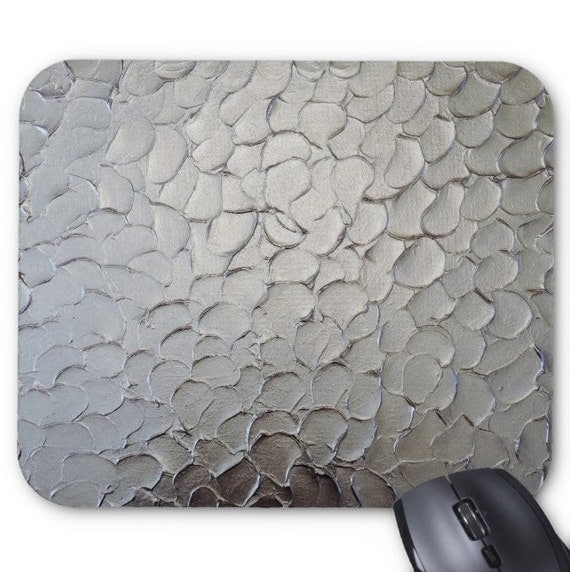 Silver Mousepad Mouse Pad Fine Art Painting Abstract Impasto Silver Texture Fine Art Contemporary Modern Original Art Metal Look