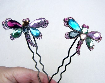 2 rhinestone butterfly hair pins hair accessory hair comb hair pick hair fork hair ornament hair jewelry