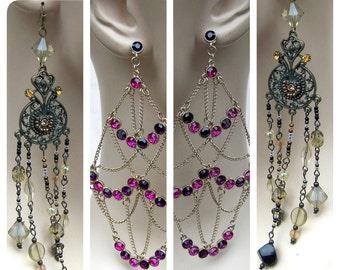 2 pair vintage dangle earrings pierced earrings ethnic style tribal fusion belly dance rhinestone earrings (AAA)
