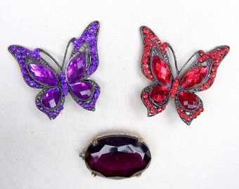 3 rhinestone pendants red purple late 20th century rhinestone jewelry butterfly pendant up cycle repurpose (AAB)