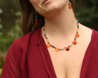 Bright Colorful Orange and Teal a Gemstone Necklace and Earring Set
