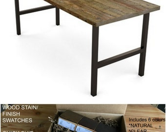 Reclaimed Wood Table, Dining Table, Wood Dining Table. Finish/stain sample kit to try B4 you buy