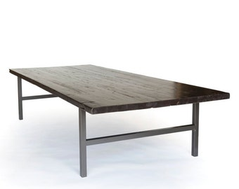 Custom Office Table, Wood Conference Table, Large Reclaimed Wood Table with choice of wood finish and painted table legs