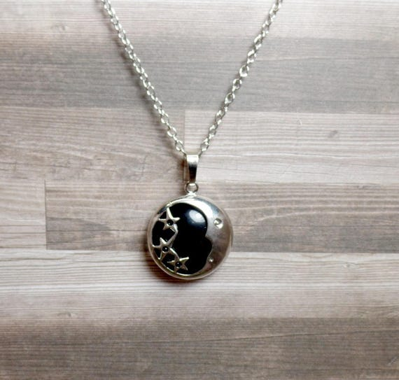 Black Agate Moon & Stars Necklace - Black Moon - Gemstone Necklace - Crescent Moon Necklace