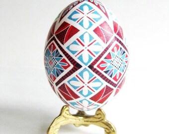 Pysanka Ukrainian Easter egg shell hand painted blue and red ornament Christmas gift birthday gift for mom that loves Easter summertime gift