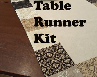 Easy to Sew Kit for Table Runner in Black and Tan Prints from Black Tie Affair Collection with  Natural Linen Mochi Center