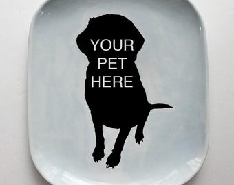 Pet Platter | medium serving platter | handmade plate | dog cat portrait | personalized custom pet portrait | made to order
