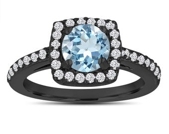 Aquamarine Engagement Ring, With Diamonds 14K Black Gold Vintage Style 1.24 Carat Certified Pave Halo Handmade