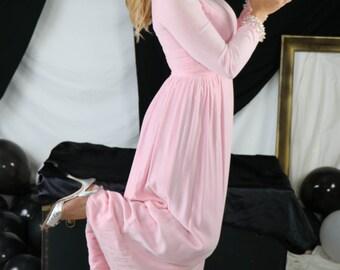 Vintage Pink Velvet Gown with Embellished Details