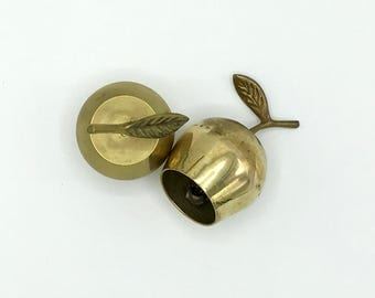 Vintage Brass Apple Bells, Set of Two, Small Bells, Gift for Teacher