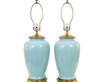Pair Paul Hanson Turquoise Seafoam Pottery Lamps Hollywood Regency Asian