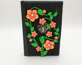 Orange Flower and Bee Journal; Polymer Clay Journal; Custom Flower Art Journal; Floral Sketchbook; Style No. ORF03