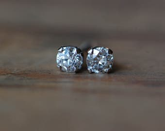 Antique Old European Cut diamond studs ∙ .30 carat Old European Cut tiny diamond studs