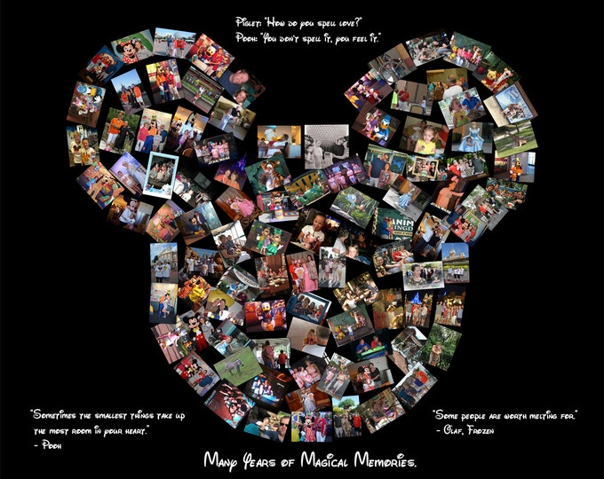 Disney Collage canvas Custom Mickey Mouse Ears Custom Canvas Mosaic Collage Picture Gift Wedding or Anniversary Wall Art 20x24