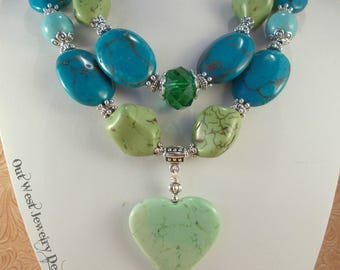 Western Cowgirl Statement Necklace Set - Chunky Lime Green and Turquoise Howlite - Heart Pendant