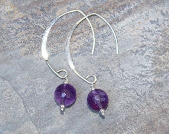 Amethyst Earrings, Sterling Silver Earrings, Natural Stone Earring, February Earrings, Purple Earrings, Gemstone Earrings, Handmade Earrings