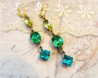 Warm Summer Breeze, Yellow Marquise,Green Peridot Ovals,Turquoise Diamonds Vintage Rhinestone Earrings by Hollywood Hillbilly