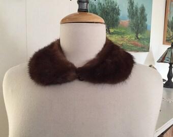 Vintage 1950s Mink Collar, Dark Brown Fur, Peter Pan Style with Hook & Eye Closure