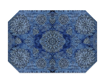 Bohemian placemat, blue placemat, boho, printed lace pattern, cloth placemat, washable polyester fabric placemat, table linens