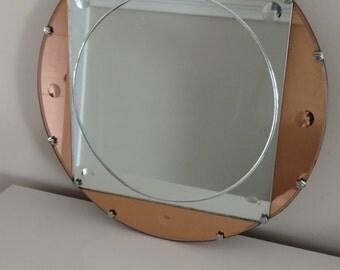 Vintage Deco Framelss Mirror / Copper and Silver Round Mirror