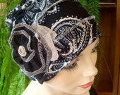 womens chemo hat  Chemo Hat Turban slouchy Hat black white beige paisley with flower Chemo Headwear
