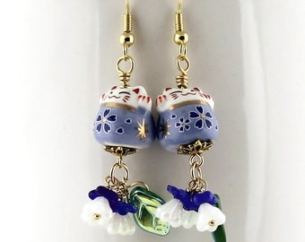 Blue Happy Cats Earrings - Maneki-Neko Beckoning Cat Beads, White and Cobalt Blue Czech Glass Flowers, Gold Plated Stainless Steel Earwires