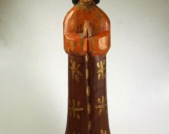 Vintage Folk Art Carved Angel Guatemala Religious Figural Wooden Primitive Retablos Santo Relic Icon