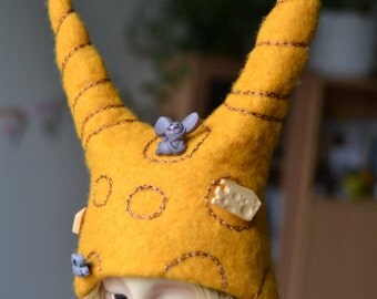 """water felted Cheese and mice hat for MSD 7-8"""" bjd, one of a kind!"""