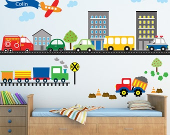 Cars Construction Airplanes Transportation Decal, REUSABLE Decals Non-toxic Fabric Wall Decals for Kids, WD955