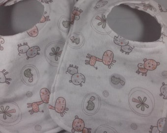 Set of Unisex  Newborn or Preemie Baby Bibs Reversible