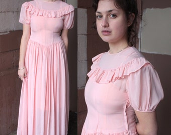 Vintage 1940's Dress // 30s 40s Ballet Pink Romantic Sheer Gown with Frills //  // DIVINE